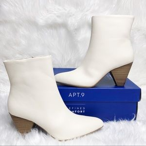 Apt. 9 High Heel Ivory Ankle Boots